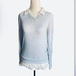 DREW Light Sweater Blue with White Collar